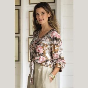 Soft Surroundings Lupita Floral Button Front Top L